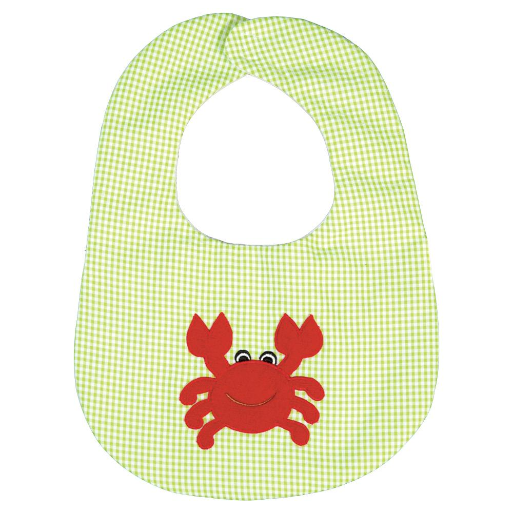 Happy Crab Apple Green Seersucker Bib 17SU 5941 BIB GR