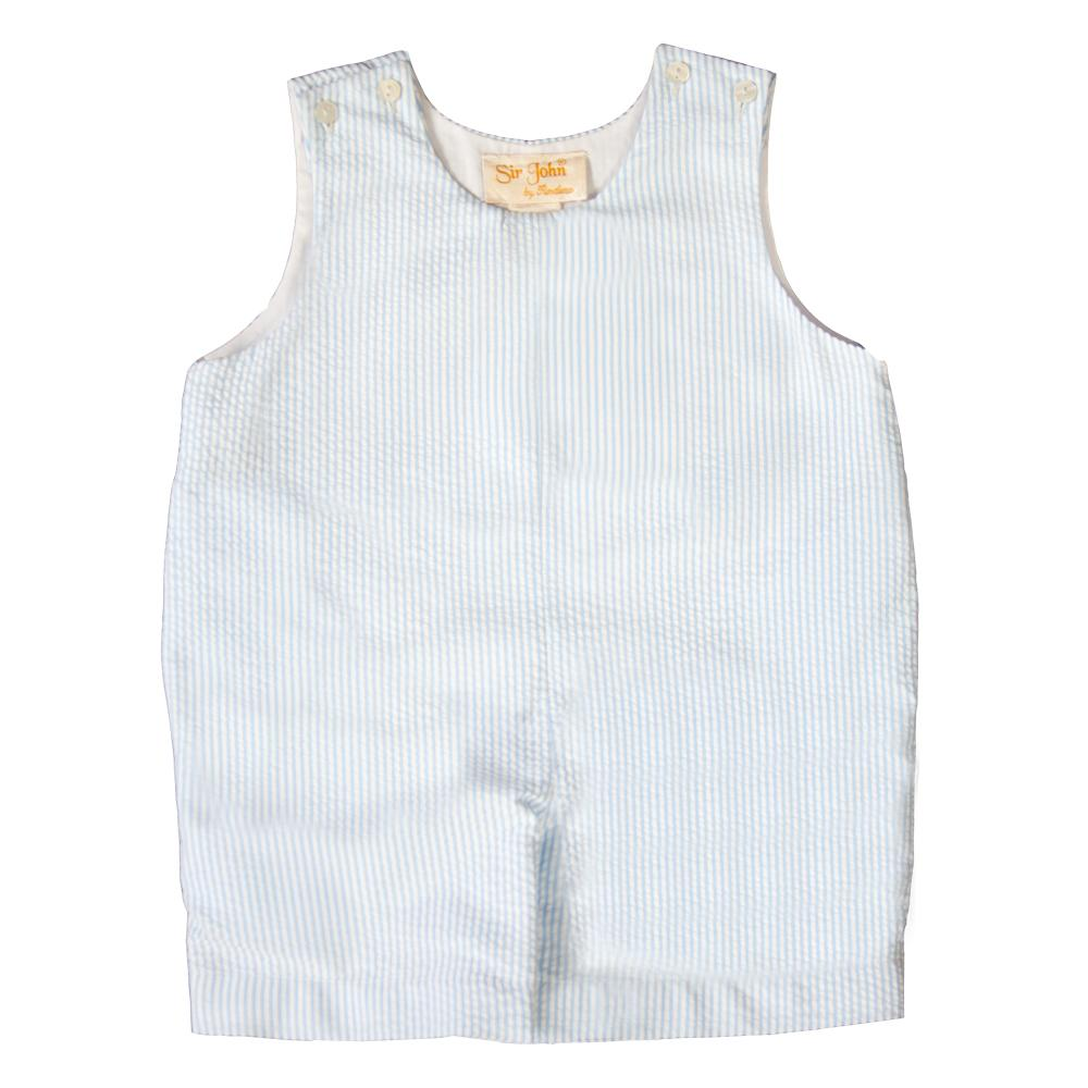 Light Blue Striped Seersucker Romper 19SP AYR 5943 R LBL