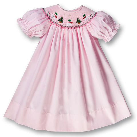 Snowmen & Christmas Trees Pink Smocked Bishop 17H 5997 A