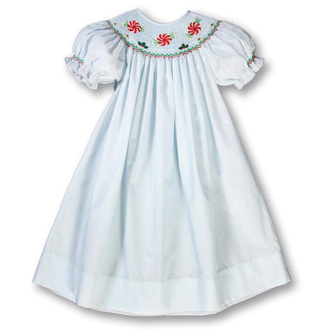 Peppermint Candies Light Blue Smocked Bishop Dress 17H 6004 A
