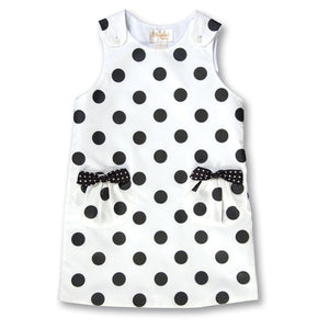 Black Polkadot White Aline w/Pockets 17F 6005 C