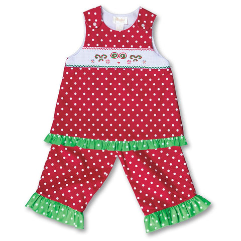 Holiday Treats Red White Polkadot Smocked Blouse/Pants 17H 6031 BP2