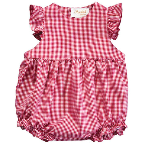 Red Gingham Ruffled Girl Angel Sleeve Bubble 18 AYR 6040 BUG REDG