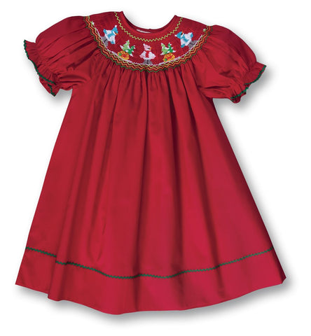 Holiday Bundled Snowmen Red Smocked Bishop 17H 6049 A