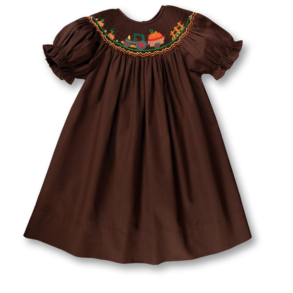 Pumpkin Tractor Dark Brown Smocked Bishop 17F 6052 A