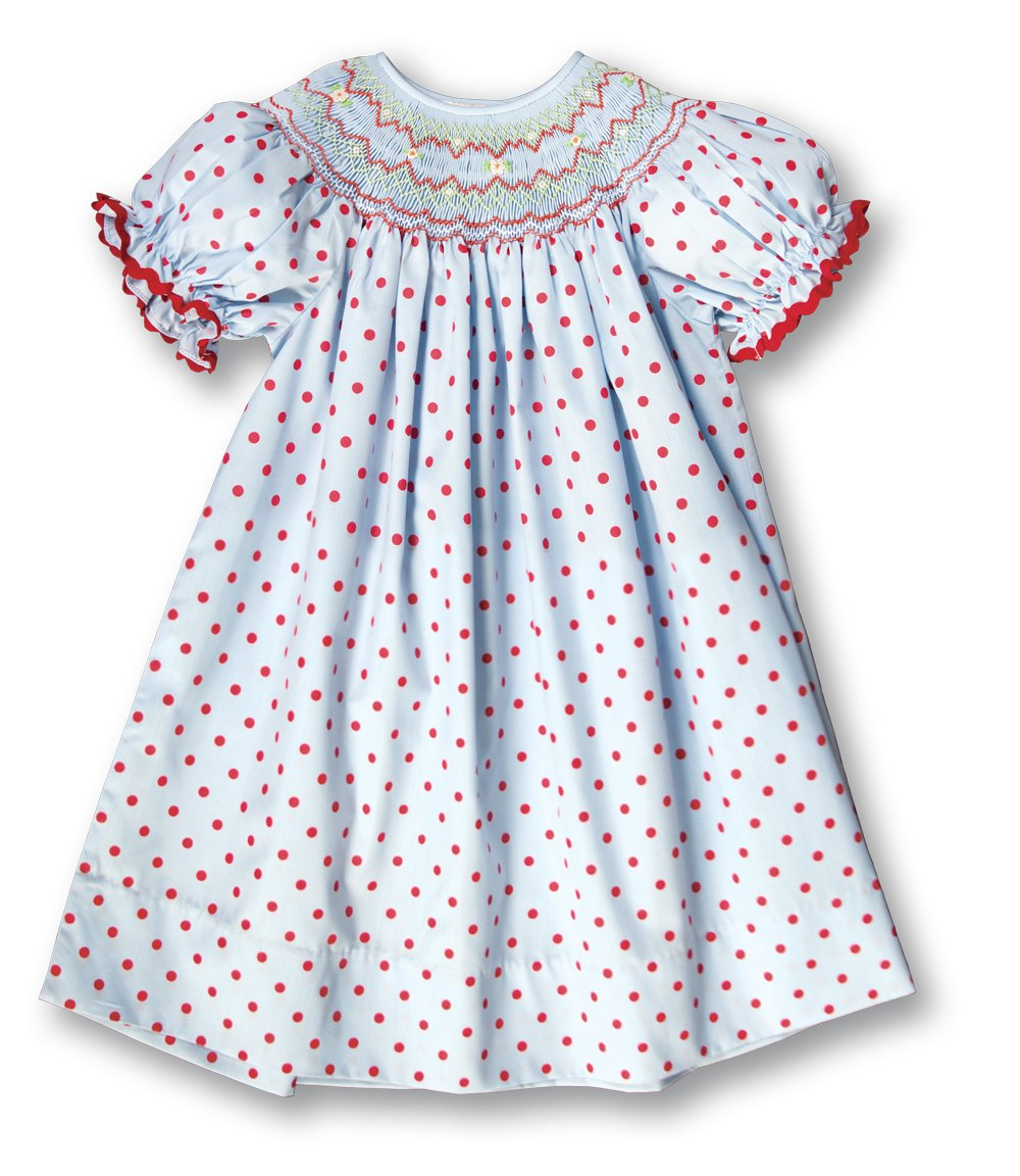 Medium Blue & Red Polkadot English Smocked Bishop w/RicRac 17H 6056 A