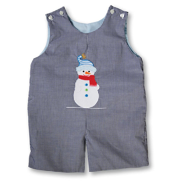 Snowman Medium Blue English Smocked Reversible Romper 17H 6056 R