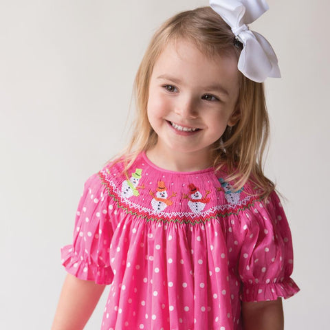 Joyful Snowmen Med. Pink White Polkadot Smocked Bishop