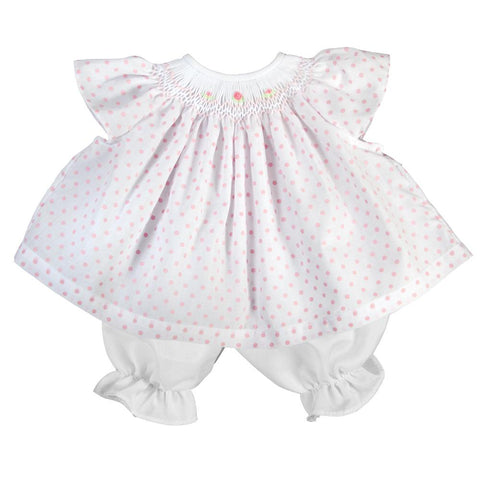 Pink Polkadot Angel Sleeve English Smocked Doll Dress AYR 6087 DD