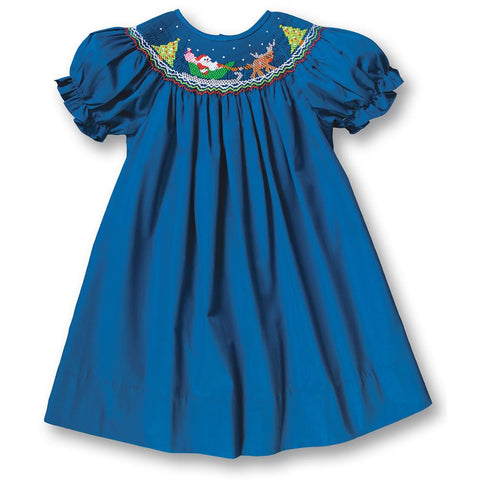 Santa Sleigh Royal Blue Smocked Bishop 17H 6092 A