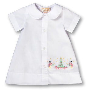 Snowmen Christmas Shadow Embroidered Boy White Daygown 17H 6101 DGB