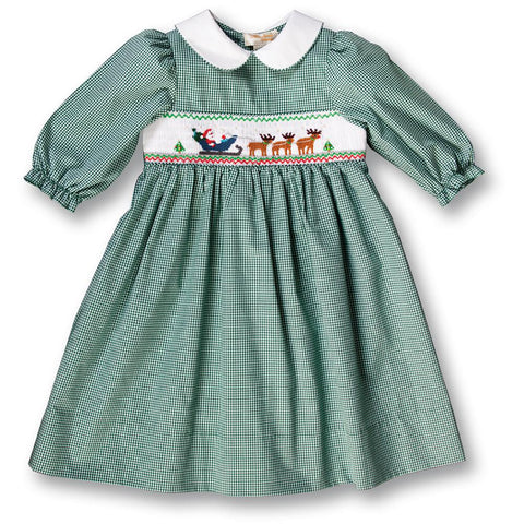 Santa's Trip Green Gingham 3/4 Sleeve Smocked Baby Dress 17H 6104 D