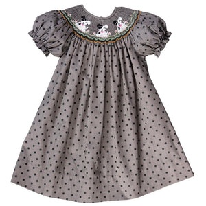 Spotty Dogs Polkadot Black Tiny Gingham Smocked Bishop 17F 6108 A