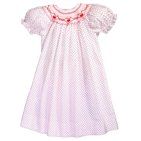 Red Hearts Pink Fuchsia Dot Smocked Bishop 18SP 6128 A