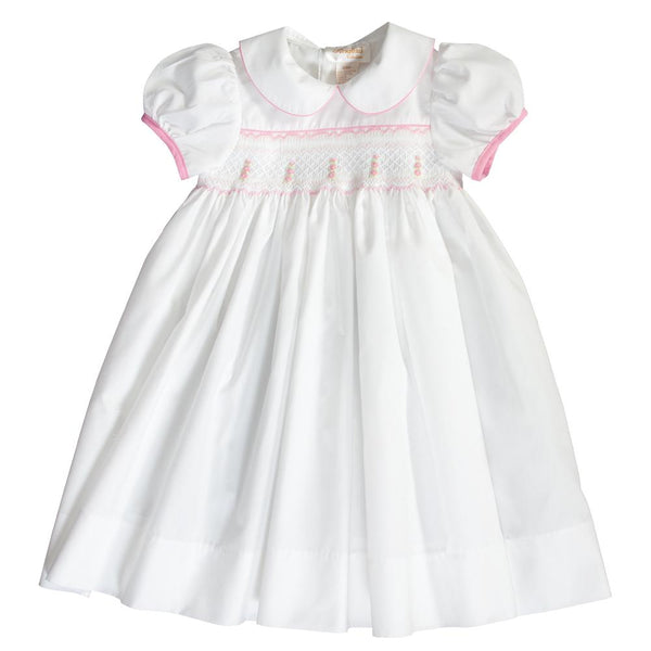 Sarah Off-White & Pink English Smocked Baby Dress 18SP 6136 D