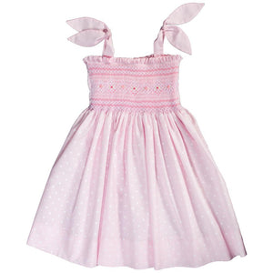 Breezy Pink White Dot English Smocked Sundress w/Tie Straps 18SU 6138 SD