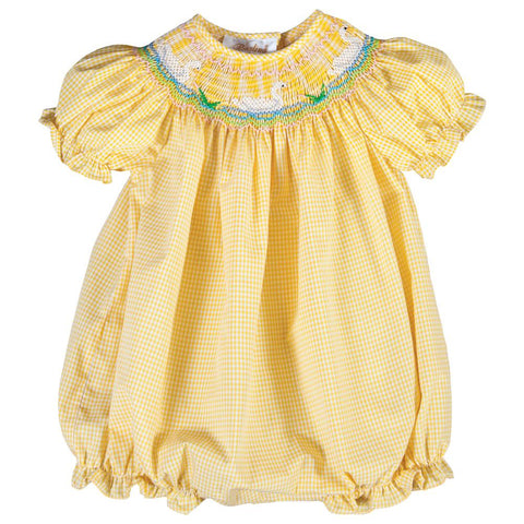 Swan Bevy Yellow Gingham Smocked Girl Bubble 18SP 6166 BUG