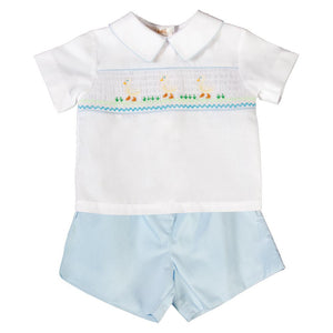 White Ducks White/Light Blue Smocked Short Set 18SP 6171 SS2