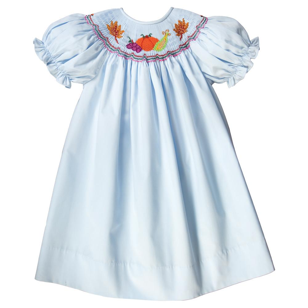 Autumn Harvest Blue Smocked Bishop 18F 6209 A