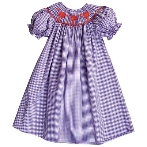 Orange Palmetto Purple Gingham Smocked Bishop 18 AYR 6270 A PUR