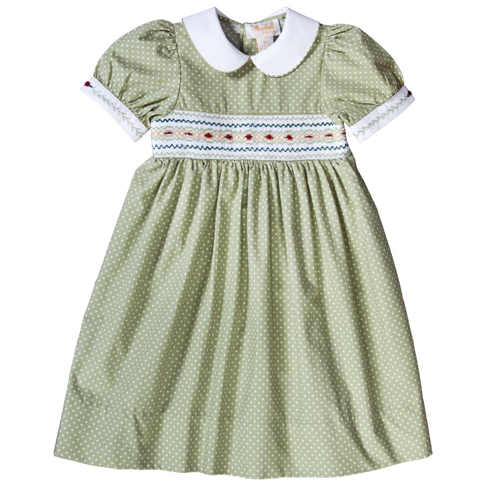 Moss Green White Dotted English Smocked Baby Dress 18F 6288 D