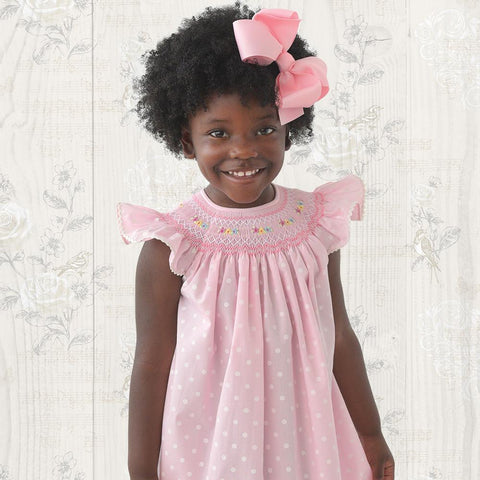 Pink Dotted English Smocked Bishop with RicRac 19SP 6290 A