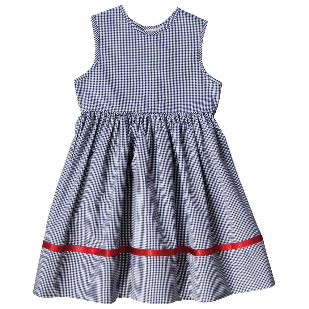 Navy Blue Gingham Sundress with Red Satin Ribbon on Hem 18F 6321 SD