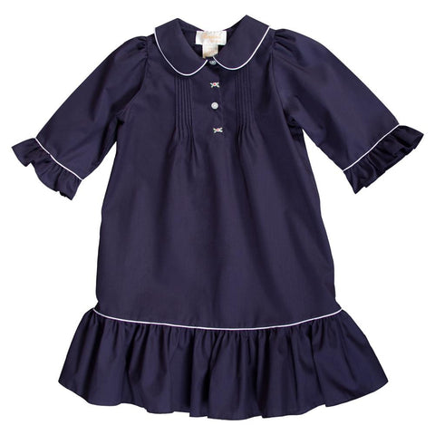 Ellie Navy Blue Pleated Dress with Bell Sleeves 18F 6325 D