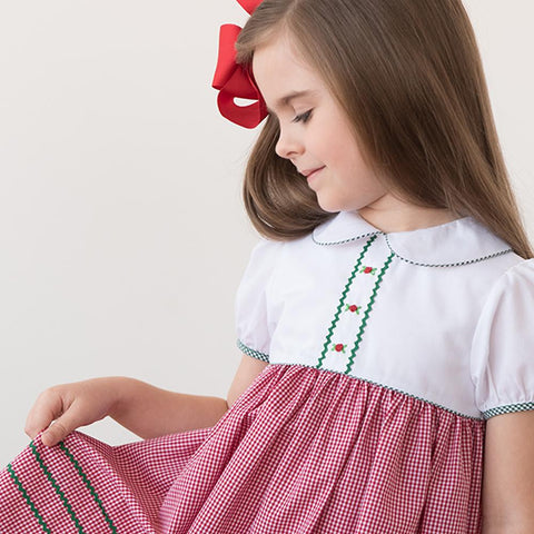 Holiday Sarah White Red Green Gingham Dress with RicRac 18H 6356 D