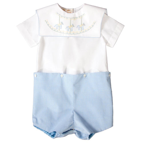Carousel Horses Light Blue Gingham Shadow Embroidered Boy Button-On Short Set 19SP 6360 SS1