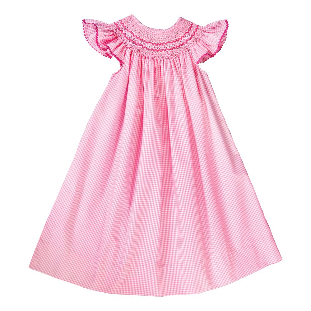 Pink Gingham English Smocked Bishop with Angel Sleeves 19SU 6420 A