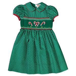 Candy Canes Green White Dotted Smocked Dress with Red Trim 18H 6434 D
