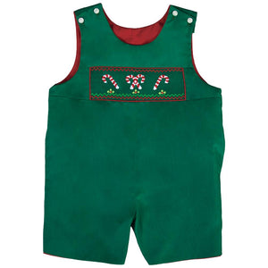 Candy Canes Green Smocked Reversible Romper 18H 6434 R