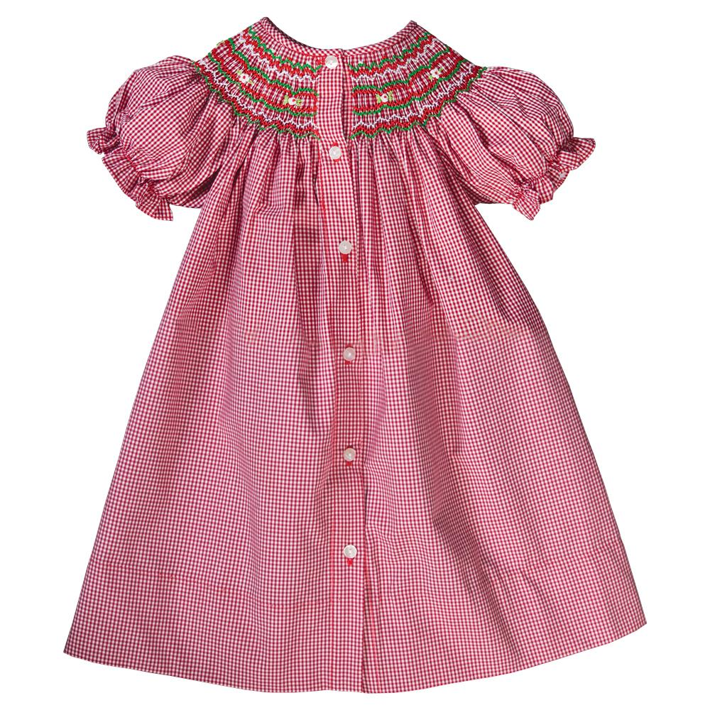 Red Gingham English Smocked Bishop Front Buttons 19H 6445 A