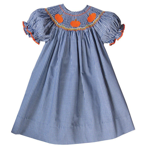 Pumpkins Royal Blue Gingham Smocked Bishop with RicRac 18F 6450 A