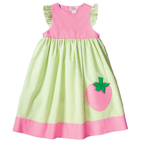 Md. Pink Strawberry Applique Apple Green Gingham Seersucker Sundress 19SU 6465 SD