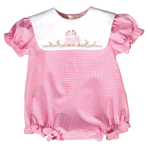 Cuddly Giraffes Shadow Embroidered Pink Gingham Girl Bubble 20SU 6485 BUG