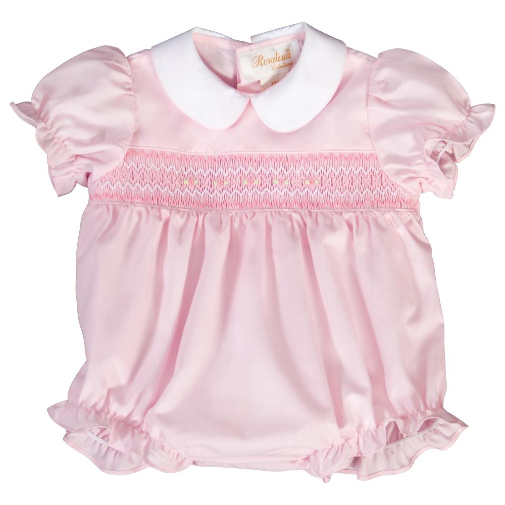 Pink English Smocked Girl Bubble with White Collar 19SP 6512 BUG