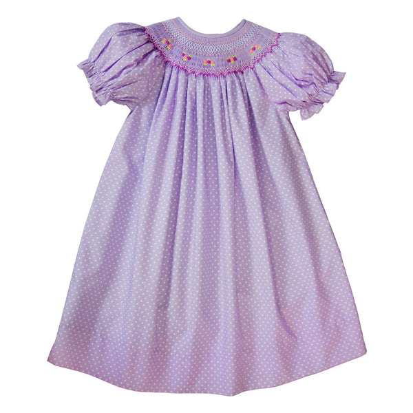 Lavender White Dotted English Smocked Bishop 19SP 6542 A