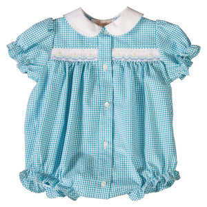 Turquoise Gingham Seersucker English Smocked Girl Bubble with White Collar 19SP 6551 BUG