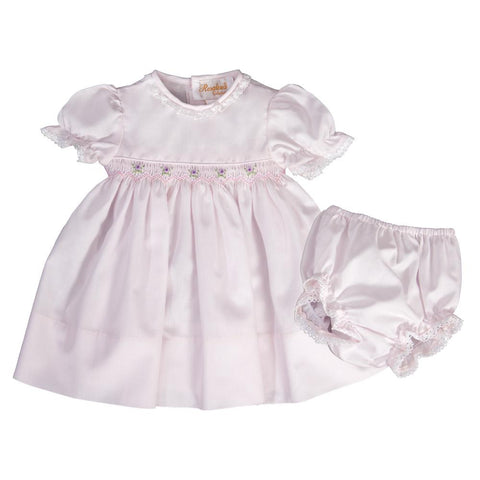Aria Light Pink English Smocked Baby Dress with Eyelet Lace and Matching Panties 19SP 6557 D