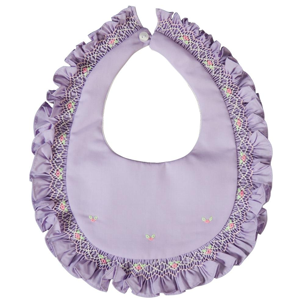 Lavender Smocked Ruffled Bib 19SP 6588 BIB