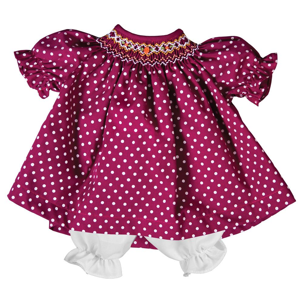 Magenta Dotted English Smocked Doll Dress 19F 6605 DD