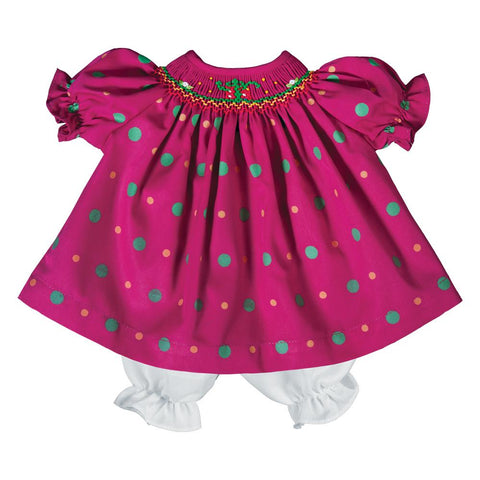 Fancy Presents Magenta Multi Dot Smocked Doll Dress 19H 6607 DD