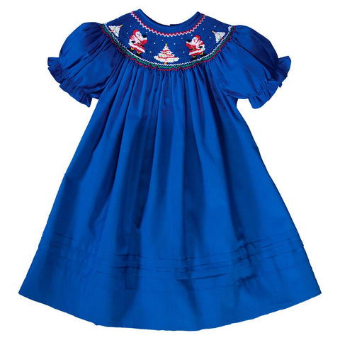 Waving Santas Royal Blue Smocked Bishop 19H 6609 A