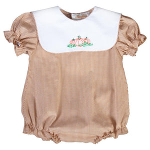 Pumpkins Shadow Embroidered Beige Tiny Gingham Girl Bubble w/White Collar 19F 6610 BUG