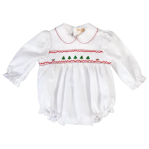 Christmas Trees Smocked L.Sleeve Girl White Bubble 19H 6611BUG