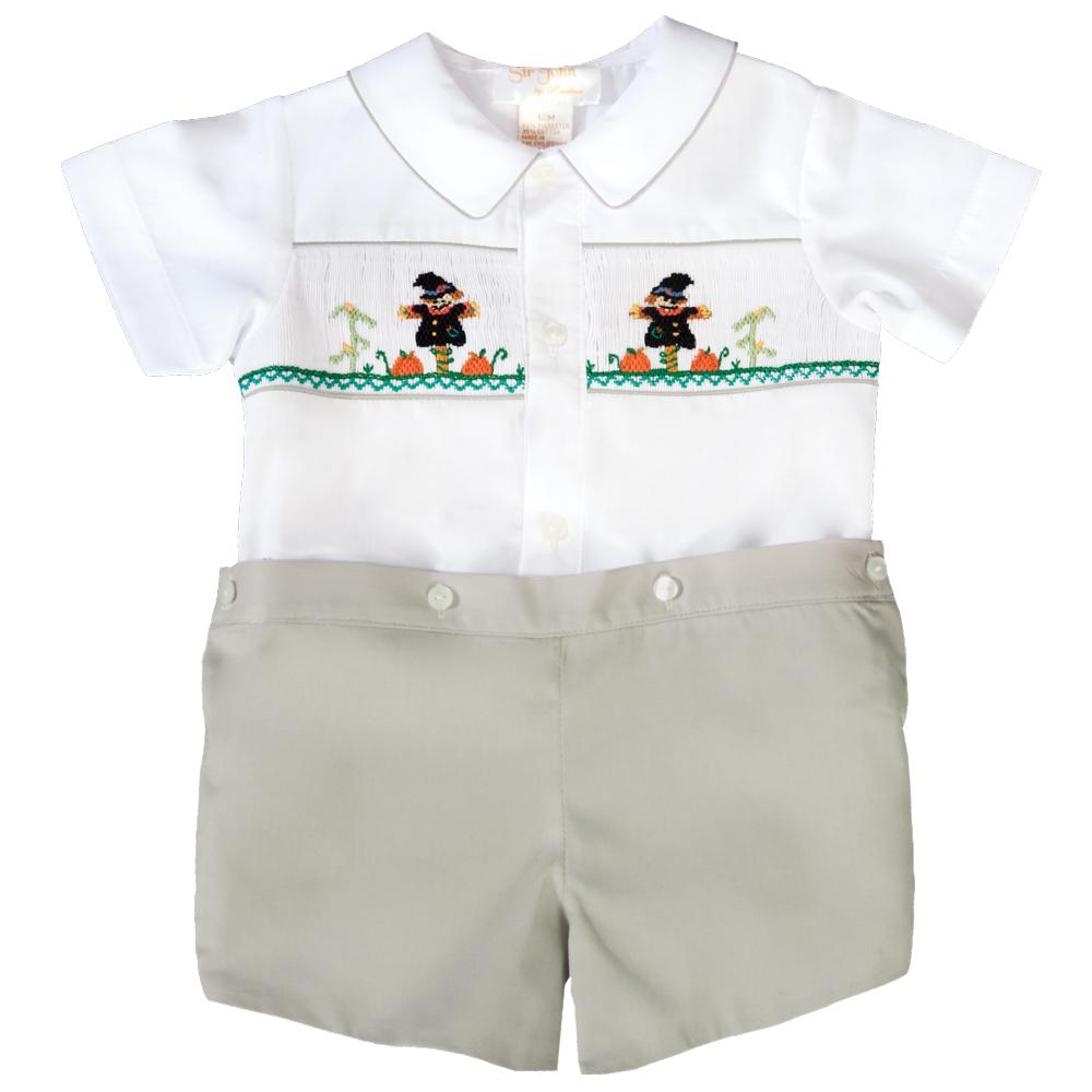 Scarecrow White / Grey Khaki Smocked Button-On Short Set 19F 6613 SS1