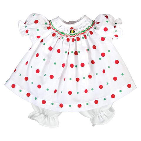 Santa Presents White Multi Dot Smocked Doll Dress 19H 6632 DD