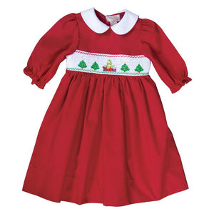 Christmas Trees & Presents Red Smocked L.Sleeve Baby Dress 19H 6633 D